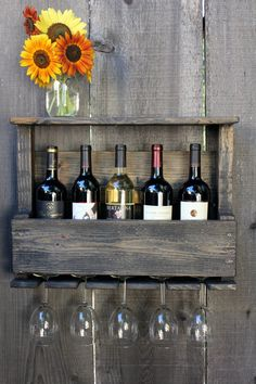 Reclaimed Wood Rustic Wine Rack Glass Holder with Shelf in Dark Distressed Wash Small Size on Etsy, $49.00
