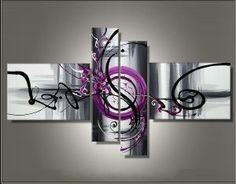 toiles peintures tryptique abstrait fushia gris - Recherche Google