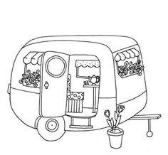 cute trailer/caravan colouring page