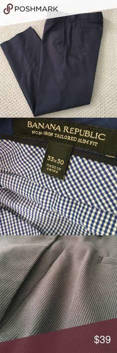 Non-Iron Slim Fit Banana Republic Dress Pants! These non-iron slim fit dress pants from Banana Republic are in fantastic shape and were hardly worn. The slacks are black with a subtle grey design. They're so comfortable! It doesn't even feel like you're wearing dress pants! Size 33X30 Banana Republic Pants Dress