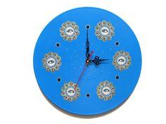 Wall clock kids clocks blue wall clock modern wall by OlgaArtShop
