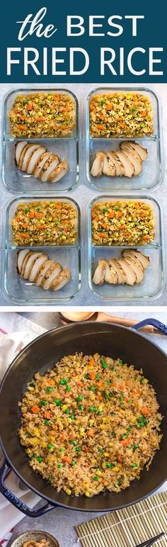 This recipe for the BEST Chinese Fried Rice and chicken is the perfect easy weeknight dish. With the most authentic flavors! My father was the head chef at a top Hong Kong Chinese restaurant and this was his specialty! So delicious and way better than any takeout! Plus a step-by-step video! Make it on Sunday for weekly meal prep for or leftovers are great for school lunchboxes or work lunch bowls. #friedrice #takeoutfakeout #asianfood #bestfriedrice #chinesetakeout #takeout