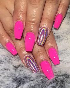 Hot pink And Chrome  by Valleybabe - Nail Art Gallery nailartgallery.nailsmag.com by Nails Magazine www.nailsmag.com #nailart
