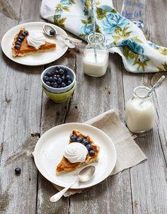 Pumpkin pie with blueberry