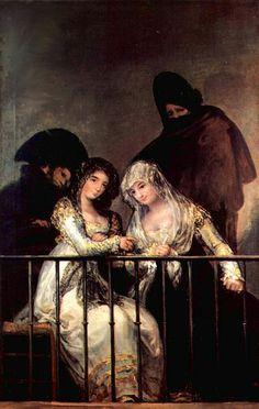 Autore: Francisco Goya Nome: Majas al balcone Data: 1835 Tecnica: Olio Luogo: Metropolitan Museum of Art Descrizione: Due ragazze al balcone (specie di etere) con dietro nelle tenebre i due protettori come se fossero fantasmi.