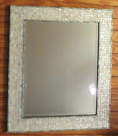 "STUNNING HAND-MADE MOSAIC MIRROR Capiz Tile with Abalone Shell Border 21""x25"""