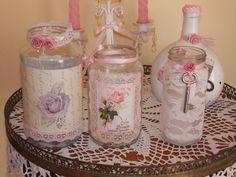 Frascos y botellas decoradas estilo Vintage, Shabby chic  Desde el precio publicado. Varios modelos y tamaños  Frascos ideales para fanales