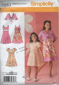 Girls Dress Simplicity Sewing Pattern 2683 K5 to 14 by creekyattic