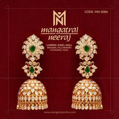 Diamond Jhumkas, Gold Jhumka Earrings, Gold Earrings Designs, Gold Jewellery Design, India Jewelry, Ear Jewelry, Gold Jewelry, Jewelery, Gold Bangles