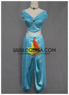 Costume Detail Aladdin Jasmine Blue Satin Cosplay Costume Includes - Top, Pants Custom sizing is free and available for this costume by request. No closure change or corset boning option available at