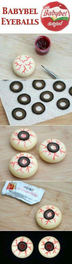 Babybel cheese eyeballs