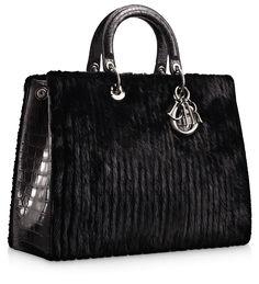 #Dior Black ribbed mink 'Diorissimo' bag with crocodile handles