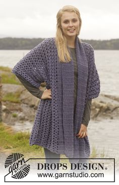 "Crochet DROPS jacket with shawl collar in ""Merino Extra Fine"". Size: S - XXXL. ~ DROPS Design - Free Pattern!"