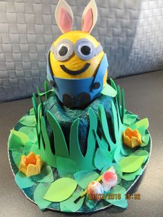 Easter bonnet 2016 Minions, Easter, Cake, Crafts, Character, Pie Cake, Cakes, Crafting, Minion