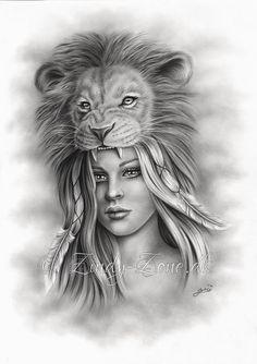 Il s'agit d'une belle impression avec mon dessin; Le Lion et la jeune fille. Le choix entre différentes tailles et types de papier. L'impression est réalisée sur du papier photo canon, garantissant une grande qualité et couleurs longue durées. L'impression est soigneusement emballée dans