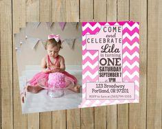 Pink Ombré Chevron One First Birthday Invitation, Girl, Printable, Custom Digital File on Etsy, $12.00