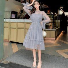 Korean Fashion Dress, Korean Dress, Fashion Outfits, Grey Party Dresses, Cute Dresses, Prom Night Dress, Floral Skirt Outfits, Dress Pesta, Fairy Dress