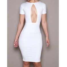 Sexy Round Neck Solid Color Cut Out Short Sleeve Women's Dress ($12) ❤ liked on Polyvore featuring dresses, short sleeve dress, round neckline dress, cutout dress, round neck dress and short-sleeve dresses
