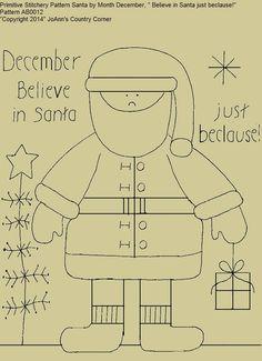 Primitive Stitchery E Pattern Snowman By Month October