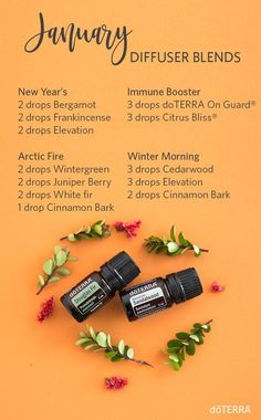 January Essential Oil Diffuser Blends Learn How to use all natural doTERRA Essential Oils in your daily life instead of Over The Counter products Essential Oils Christmas, Essential Oil Uses, Doterra Essential Oils, Doterra Blends, Juniper Berry Essential Oil, Doterra Diffuser, Essential Oil Diffuser Blends, Diffuser Recipes, Aromatherapy Oils
