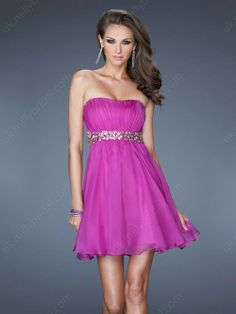 A-line Strapless Chiffon Short/Mini Rhinestone Homecoming Dresses