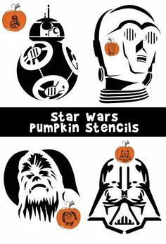 8 Star Wars pumpkin carving patterns including Darth Vader, Darth Maul…