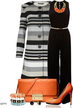 A fashion look from March 2013 featuring wool coat, black jumpsuit and Reed Krakoff