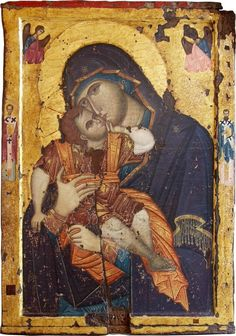 Theotokos Glykophilusa with Christ. Portable icon kept in Philotheou Monastery, Mount Athos.