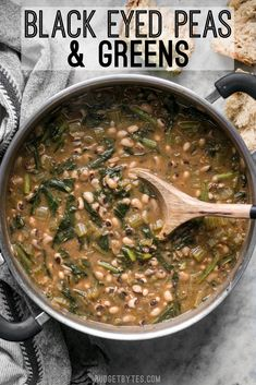 Slow Simmered Black Eyed Peas and Greens is a great cold weather comfort food that is as healthy as it is delicious! BudgetBytes.com