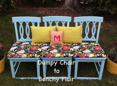 A fresh coat of blue paint revives the surface, while a padded piece of wood sits across the three seats and screws connect the board to the chairs, making it one complete piece.  Get the tutorial at Four Marrs...One Venus »
