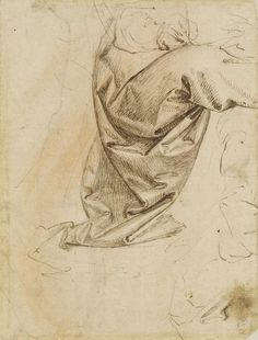 The drapery of a seated figure, Anonymous Florentine, 15th century, pen and ink with some red chalk offsetting, 17.6 x 13.3 cm