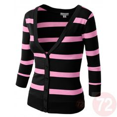 Striped Cardigan Sweater in trendy Pink and Black. Great match with our lace trimmed cami in black.