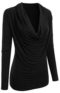 df8f7f0851 2LUV Women s 3 4 Sleeve Cowl Neck Draped Blouse Top Black S at Amazon  Women s Clothing store