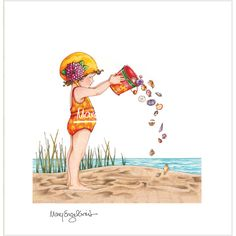 Mary Engelbreit | Bucket Full of Seashells Limited Edition Lithograph