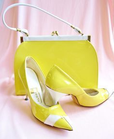 1950's Yellow Patent Purse and Heels