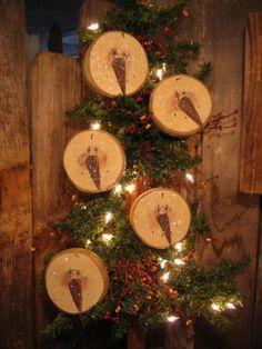 5 Glitter SNOWMEN ~ Wooden Nose Primitive Christmas Tree Ornies OOAK !!!