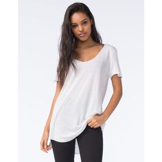 Full Tilt Essential Womens Tried & True Tee ($13) ❤ liked on Polyvore featuring tops, t-shirts, white, white scoop neck top, scoop neck top, full tilt, white scoop neck tee and white top