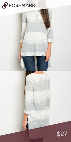COMING SOON Striped Jersey Tunic 3/4 sleeve striped high low jersey tunic top. Fabric Content: 62% POLYESTER 33% RAYON 5% SPANDEX Tops Tunics