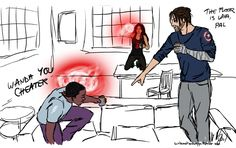 @kikidiesunddas requested wanda, sam and bucky having a good time together.   they're playing the true american drinking game from new girl.