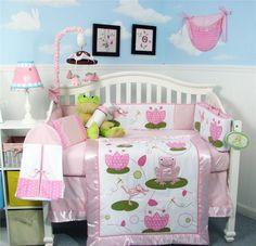 THE SIMPLY UNIQUE BABY BOUTIQUE - 13 Pc Pink And Green Frog Crib Baby Girl Nursery Set, $89.99 (http://www.thesimplyuniquebabyboutique.com/13-pc-pink-and-green-frog-crib-baby-girl-nursery-set/)