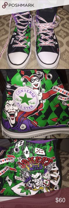 Converse Jokers Wild ALL STAR HIGH TOPS Chuck Taylor Converse Joker Wild with Harley Quin. Very rare. Shoe strings have hearts,diamonds, spades, & clubs, hahahahaha on bottom side of soles, Excellent condition for any Batman fan.  Only worn a few times. Size 8 MEN, 10 WOMEN. Converse Shoes Sneakers