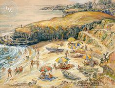John Britton Matthew - Divers Cove, Laguna Beach, California art, original California watercolor art for sale, fine art print for sale, giclee watercolor print - CaliforniaWatercolor.com