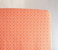 Standard Fitted Crib Sheet or Toddler Bed Sheet - Orange Slice Floral Print by ViviAnnaBanana on Etsy