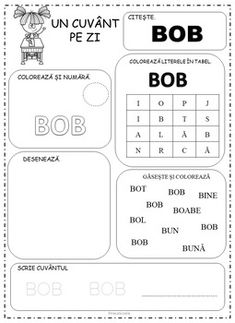 Kindergarten Word of the Day in Romanian by Ema La Scoala Character Traits List, Romanian Language, Alphabet Games, Letter Worksheets, Preschool At Home, Printed Pages, Word Of The Day, Kindergarten, Homeschool