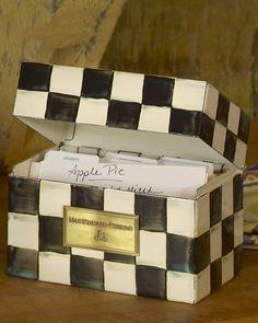 "MacKenzie-Childs ""Courtly Check"" Recipe Box $90.00"