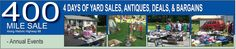 The 400 Mile Yard Sale is 4 days long and runs from Paducah to Maysville. Lebanon is the perfect place to start the journey. http://www.visitlebanonky.com/400mileyardsale.html
