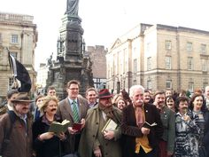 Moustaches at the ready, the streets of Edinburgh were treated to crowds reading from the work of Robert Louis Stevenson to celebrate the writer's birthday in an #RLSDay #tachemob flashmob