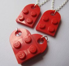 Lego Heart Set of 2 Friendship Best Friend Necklaces Joins to make a Heart -- perfect for little tomboys!
