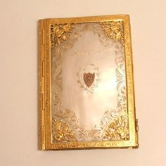 1818 Palais Royal Card Case Carnet De Bal Diary Putti Aide Memoire Signed Mark Gold Leaf and Gilt Mother of Pearl