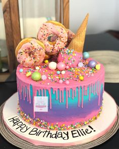 Donut and ice cram hmmm my favorite! Candy Birthday Cakes, Donut Birthday Parties, Birthday Cake Girls, Candy Theme Cake, Ice Cream Birthday Cake, 10th Birthday, Unicorn Birthday, Birthday Ideas, Donut Party